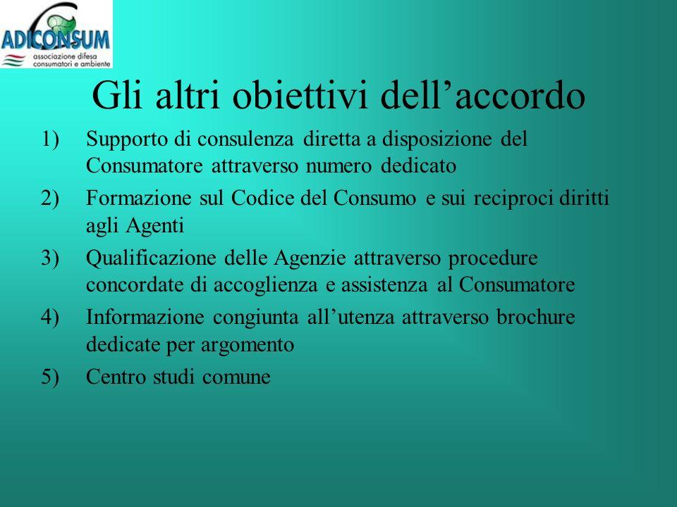 Gli altri obiettivi dellaccordo 1)Supporto di consulenza diretta a disposizione del Consumatore attraverso numero dedicato 2)Formazione sul Codice del