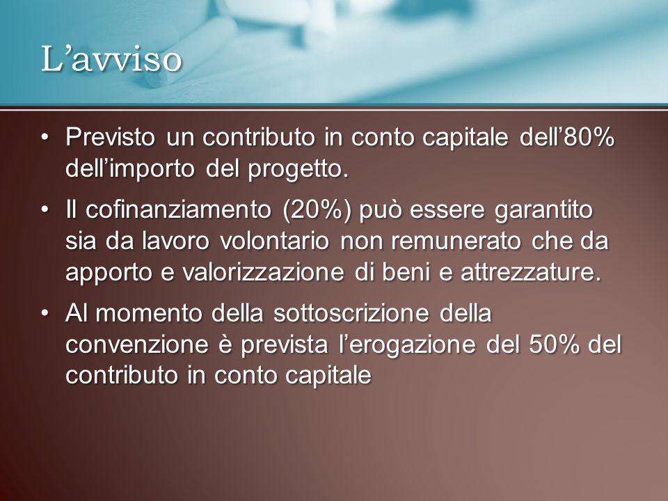 Previsto un contributo in conto capitale dell80% dellimporto del progetto.Previsto un contributo in conto capitale dell80% dellimporto del progetto.