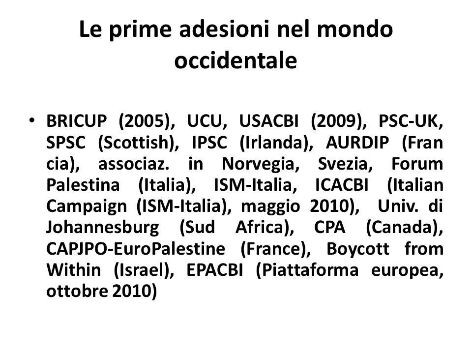 Le prime adesioni nel mondo occidentale BRICUP (2005), UCU, USACBI (2009), PSC-UK, SPSC (Scottish), IPSC (Irlanda), AURDIP (Fran cia), associaz. in No