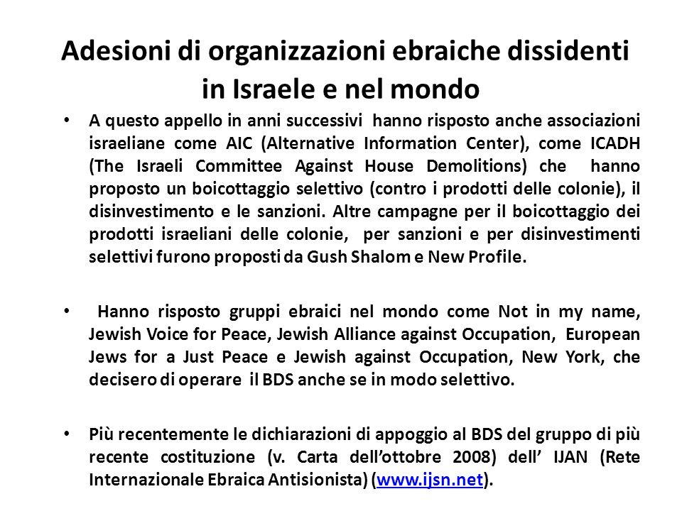 Adesioni di organizzazioni ebraiche dissidenti in Israele e nel mondo A questo appello in anni successivi hanno risposto anche associazioni israeliane