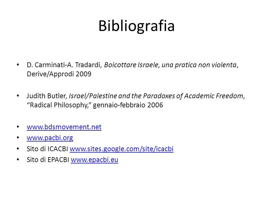 Bibliografia D. Carminati-A. Tradardi, Boicottare Israele, una pratica non violenta, Derive/Approdi 2009 Judith Butler, Israel/Palestine and the Parad