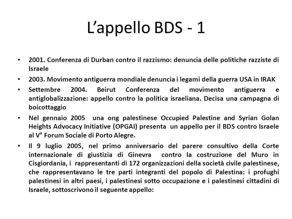Lappello BDS - 1 2001. Conferenza di Durban contro il razzismo: denuncia delle politiche razziste di Israele 2003. Movimento antiguerra mondiale denun