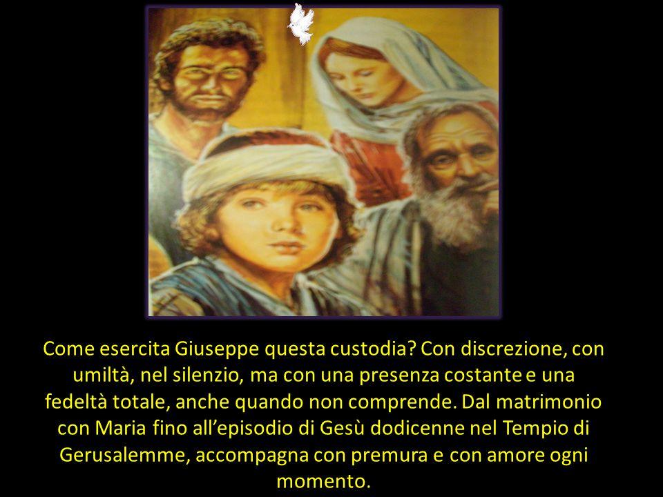 Custode di chi? Di Maria e di Gesù; ma è una custodia che si estende poi alla Chiesa, come ha sottolineato il beato Giovanni Paolo II: 'San Giuseppe,