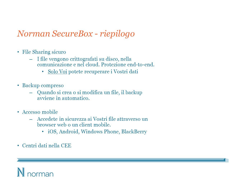 Norman SecureBox - riepilogo File Sharing sicuro – I file vengono crittografati su disco, nella comunicazione e nel cloud. Protezione end-to-end. Solo