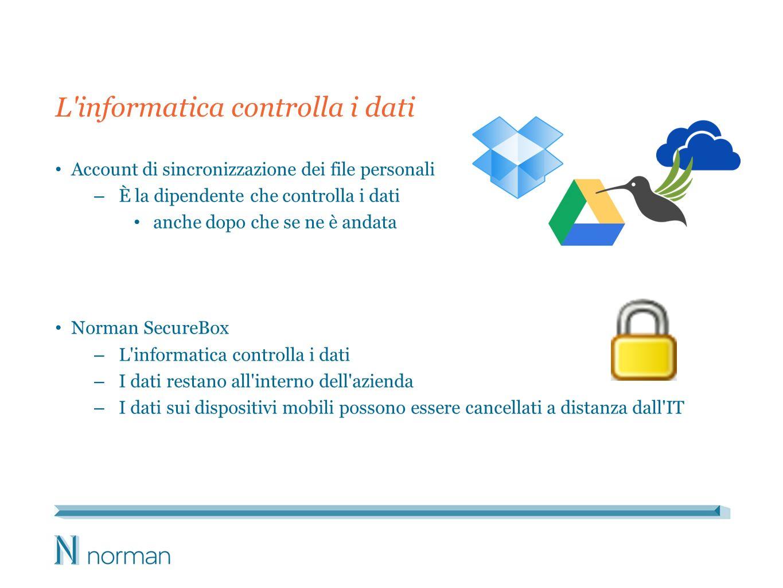 L informatica controlla i dati Account di sincronizzazione dei file personali – È la dipendente che controlla i dati anche dopo che se ne è andata Norman SecureBox – L informatica controlla i dati – I dati restano all interno dell azienda – I dati sui dispositivi mobili possono essere cancellati a distanza dall IT