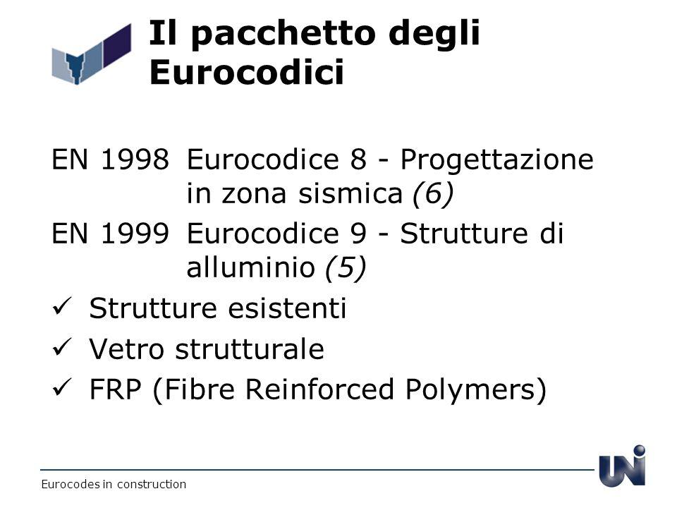 Il pacchetto degli Eurocodici EN 1998Eurocodice 8 - Progettazione in zona sismica (6) EN 1999Eurocodice 9 - Strutture di alluminio (5) Strutture esist