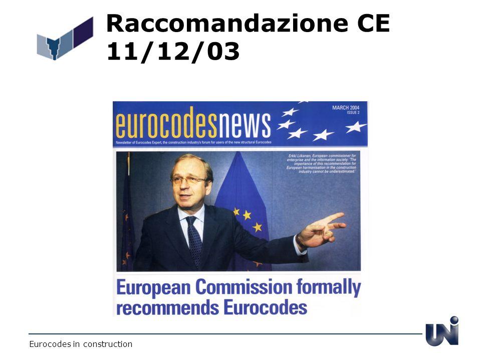 Raccomandazione CE 11/12/03 Eurocodes in construction
