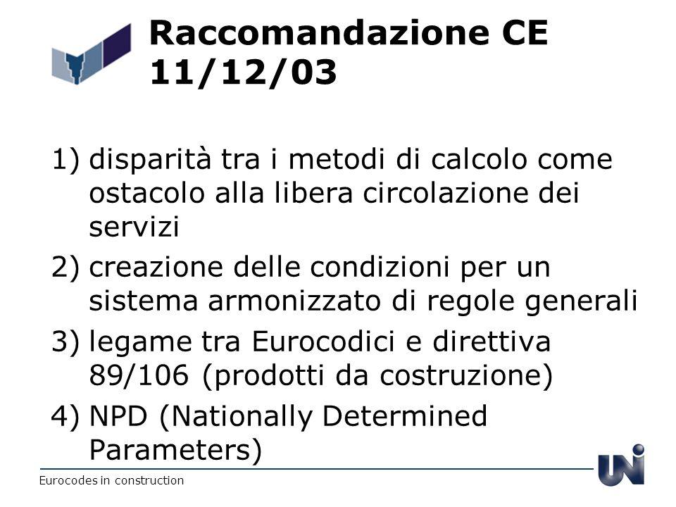 Raccomandazione CE 11/12/03 1)disparità tra i metodi di calcolo come ostacolo alla libera circolazione dei servizi 2)creazione delle condizioni per un