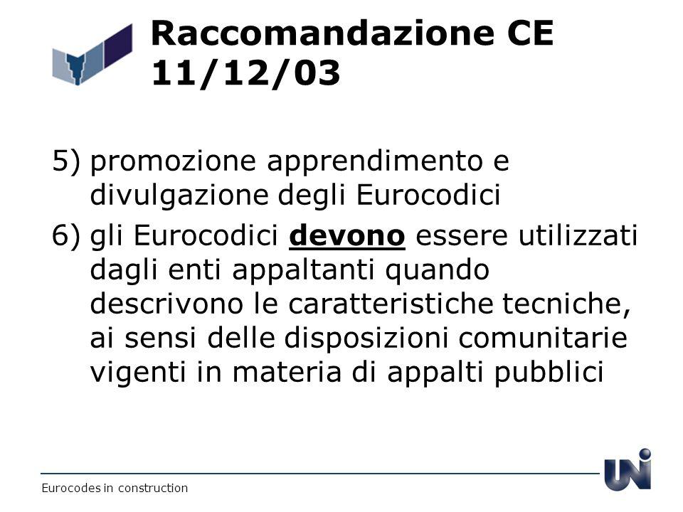 Raccomandazione CE 11/12/03 5)promozione apprendimento e divulgazione degli Eurocodici 6)gli Eurocodici devono essere utilizzati dagli enti appaltanti