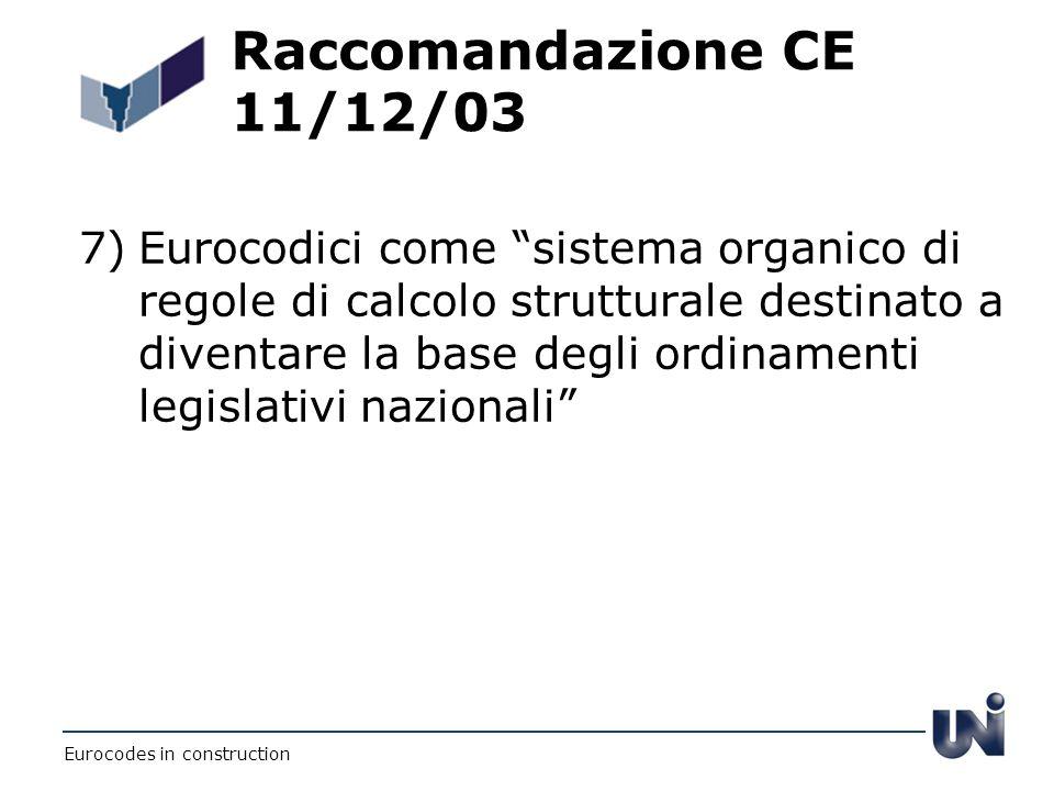 Raccomandazione CE 11/12/03 7)Eurocodici come sistema organico di regole di calcolo strutturale destinato a diventare la base degli ordinamenti legisl