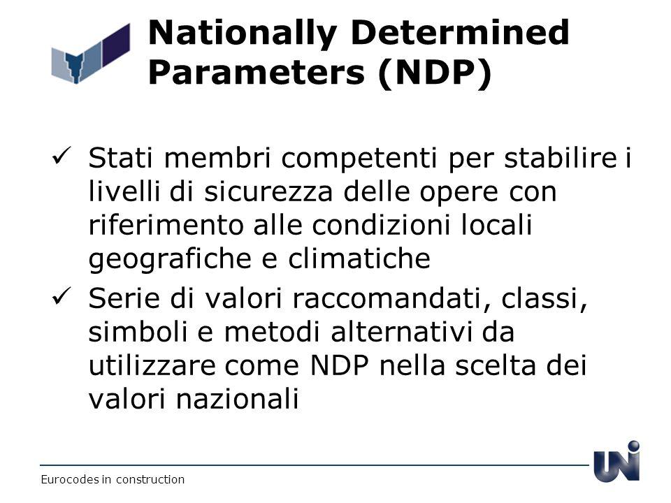 Nationally Determined Parameters (NDP) Stati membri competenti per stabilire i livelli di sicurezza delle opere con riferimento alle condizioni locali