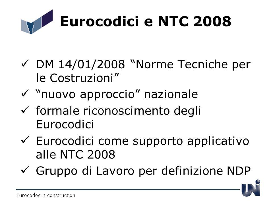 Eurocodici e NTC 2008 DM 14/01/2008 Norme Tecniche per le Costruzioni nuovo approccio nazionale formale riconoscimento degli Eurocodici Eurocodici com