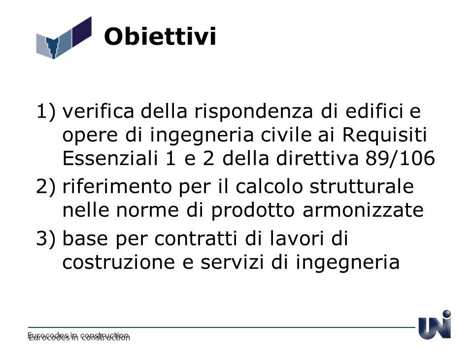Obiettivi 1)verifica della rispondenza di edifici e opere di ingegneria civile ai Requisiti Essenziali 1 e 2 della direttiva 89/106 2)riferimento per