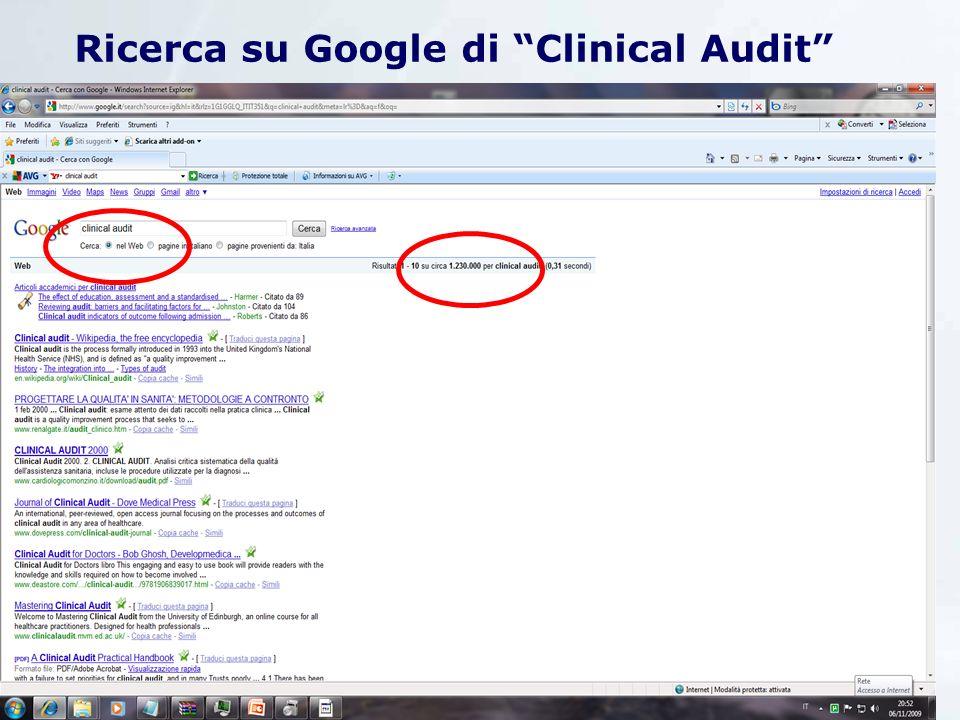 Ricerca su Google di Audit JACIE