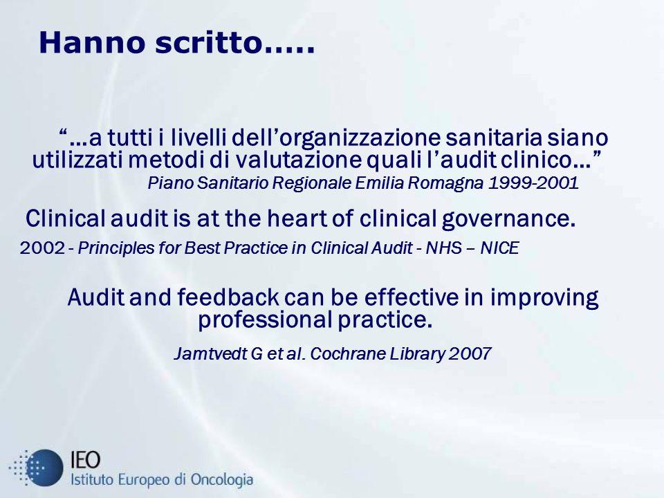 …a tutti i livelli dellorganizzazione sanitaria siano utilizzati metodi di valutazione quali laudit clinico… Piano Sanitario Regionale Emilia Romagna 1999-2001 Clinical audit is at the heart of clinical governance.