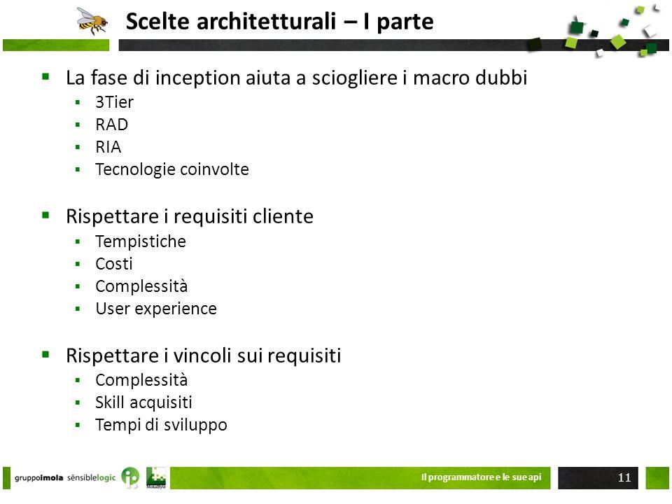 Scelte architetturali – I parte La fase di inception aiuta a sciogliere i macro dubbi 3Tier RAD RIA Tecnologie coinvolte Rispettare i requisiti client