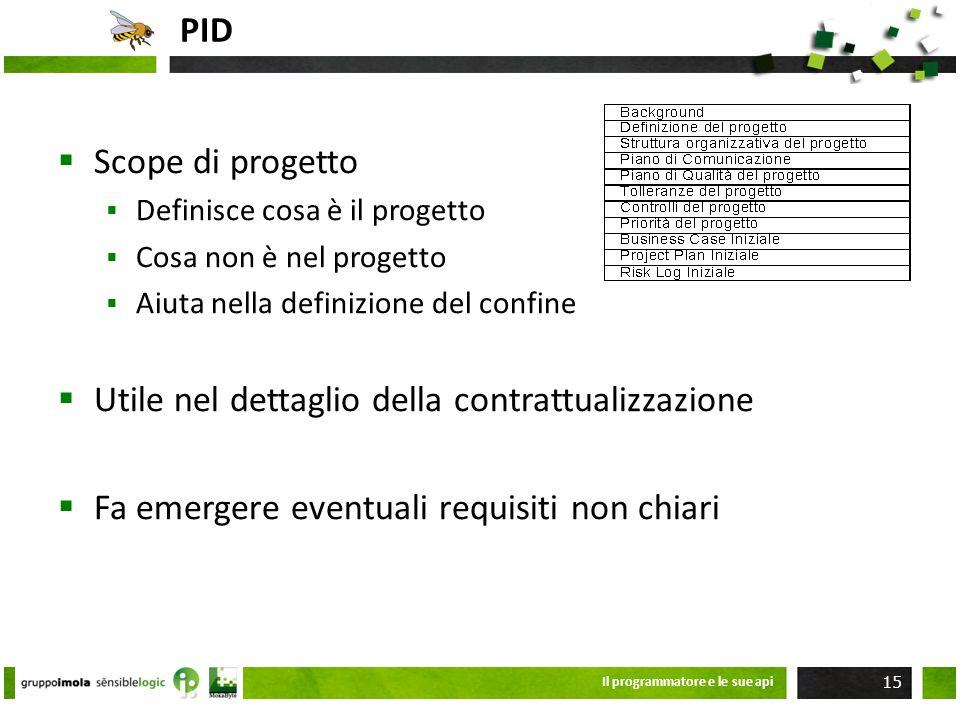 PID Scope di progetto Definisce cosa è il progetto Cosa non è nel progetto Aiuta nella definizione del confine Utile nel dettaglio della contrattualiz
