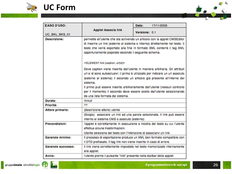 UC Form Il programmatore e le sue api 26