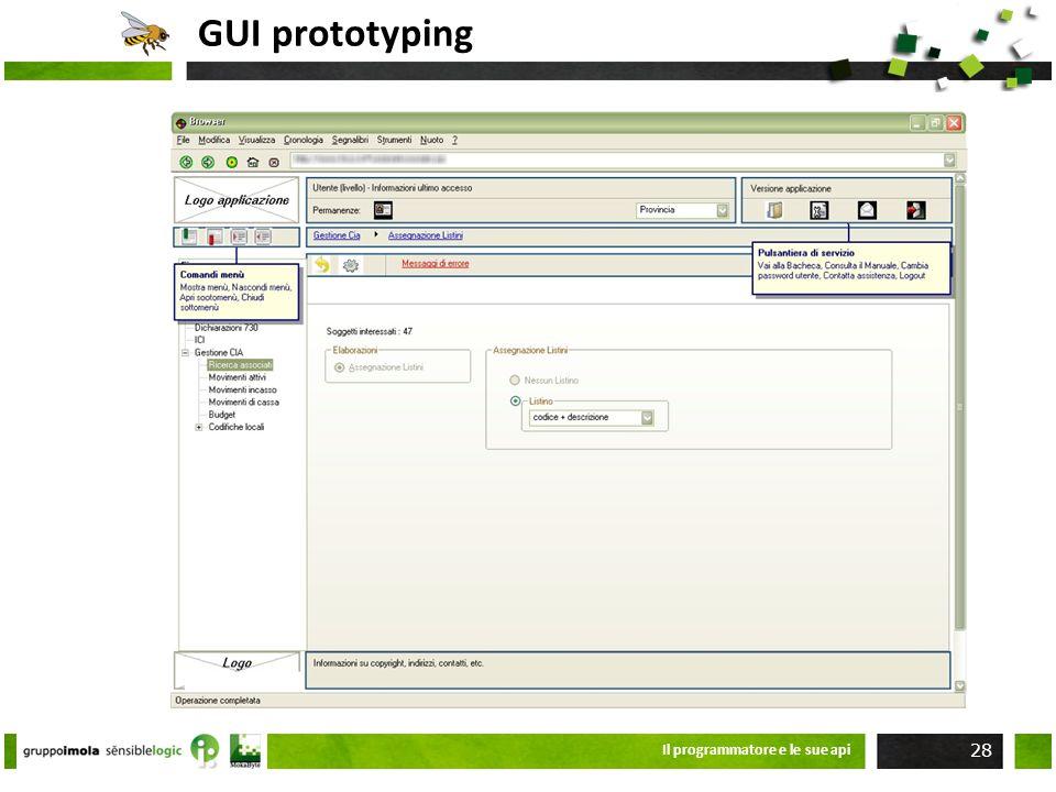 GUI prototyping Il programmatore e le sue api 28