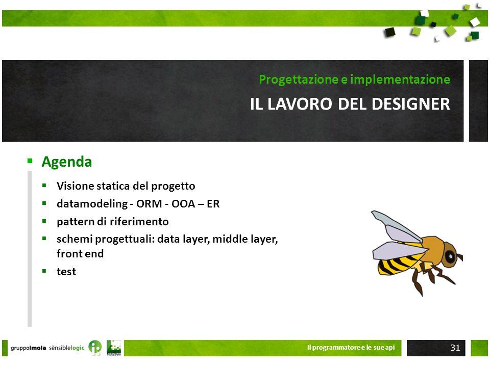 Agenda IL LAVORO DEL DESIGNER Progettazione e implementazione Visione statica del progetto datamodeling - ORM - OOA – ER pattern di riferimento schemi