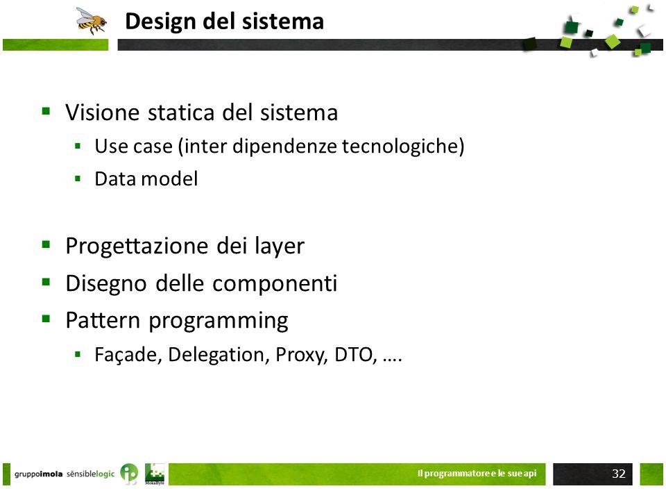 Design del sistema Visione statica del sistema Use case (inter dipendenze tecnologiche) Data model Progettazione dei layer Disegno delle componenti Pa