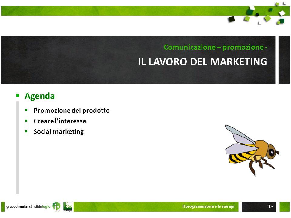 Agenda IL LAVORO DEL MARKETING Comunicazione – promozione - Promozione del prodotto Creare linteresse Social marketing Il programmatore e le sue api 3
