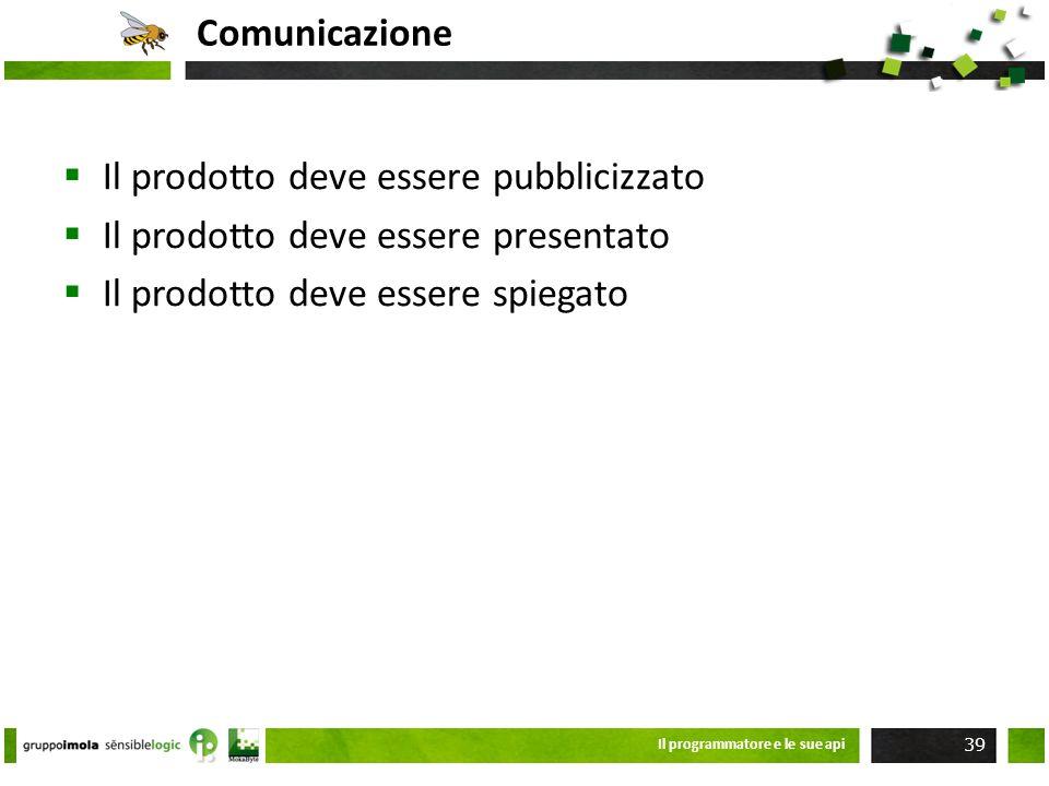 Comunicazione Il prodotto deve essere pubblicizzato Il prodotto deve essere presentato Il prodotto deve essere spiegato Il programmatore e le sue api