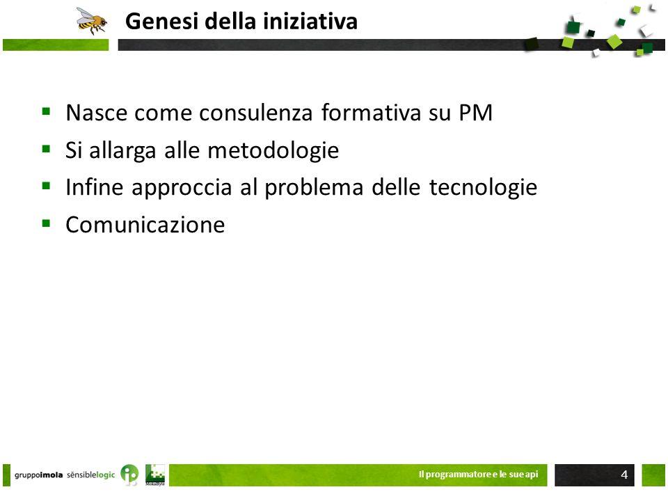 Genesi della iniziativa Nasce come consulenza formativa su PM Si allarga alle metodologie Infine approccia al problema delle tecnologie Comunicazione