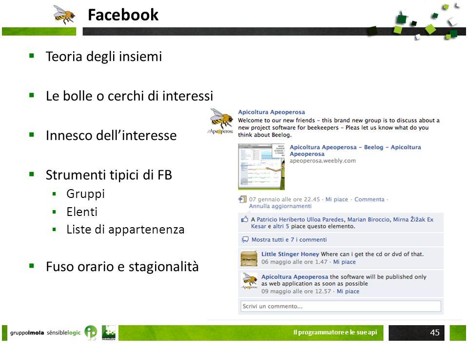 Facebook Il programmatore e le sue api 45 Teoria degli insiemi Le bolle o cerchi di interessi Innesco dellinteresse Strumenti tipici di FB Gruppi Elen