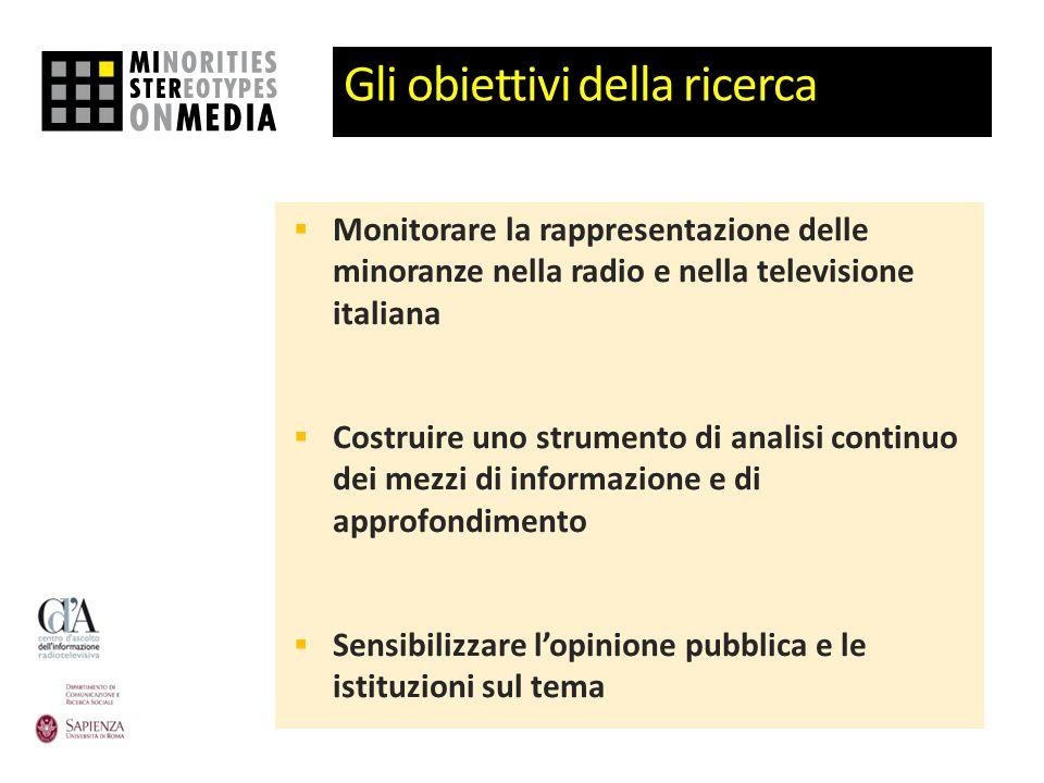 Gli obiettivi della ricerca Monitorare la rappresentazione delle minoranze nella radio e nella televisione italiana Costruire uno strumento di analisi