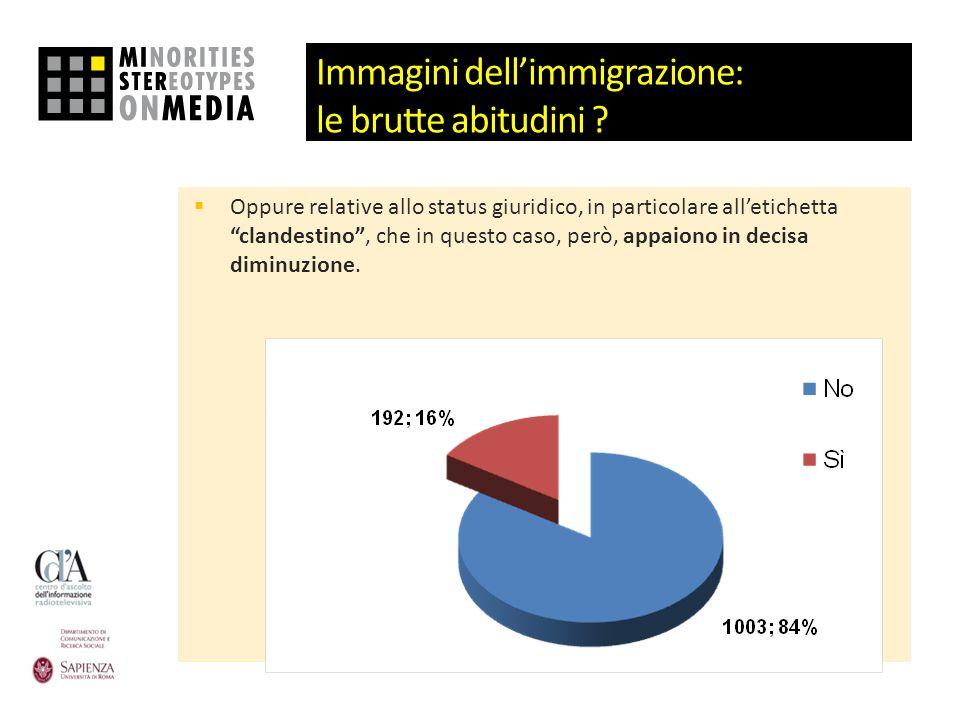Immagini dellimmigrazione: le brutte abitudini ? Oppure relative allo status giuridico, in particolare alletichetta clandestino, che in questo caso, p