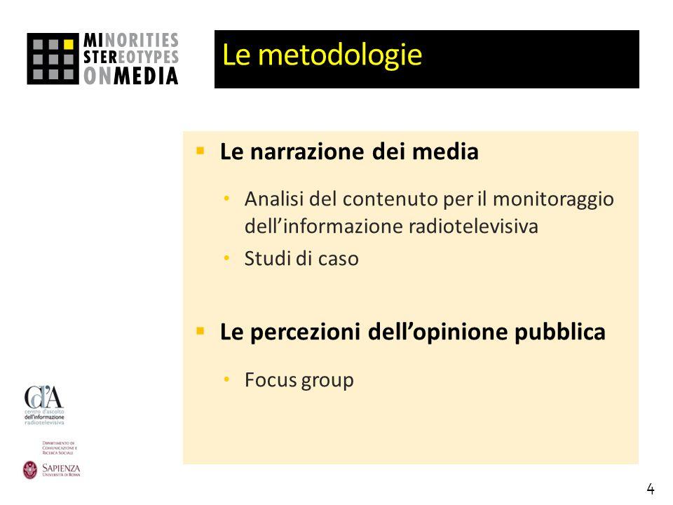 Le metodologie Le narrazione dei media Analisi del contenuto per il monitoraggio dellinformazione radiotelevisiva Studi di caso Le percezioni dellopinione pubblica Focus group 4