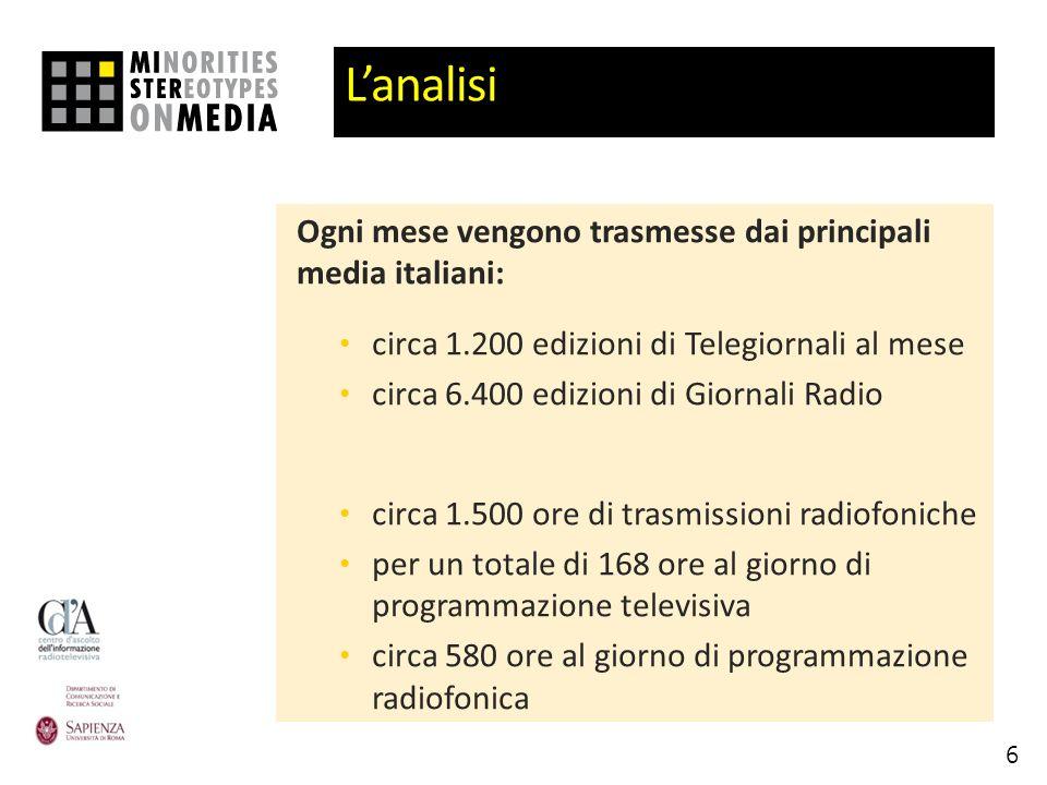 Lanalisi Ogni mese vengono trasmesse dai principali media italiani: circa 1.200 edizioni di Telegiornali al mese circa 6.400 edizioni di Giornali Radio circa 1.500 ore di trasmissioni radiofoniche per un totale di 168 ore al giorno di programmazione televisiva circa 580 ore al giorno di programmazione radiofonica 6