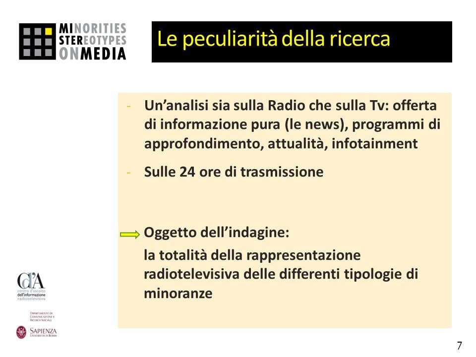 Le peculiarità della ricerca - Unanalisi sia sulla Radio che sulla Tv: offerta di informazione pura (le news), programmi di approfondimento, attualità
