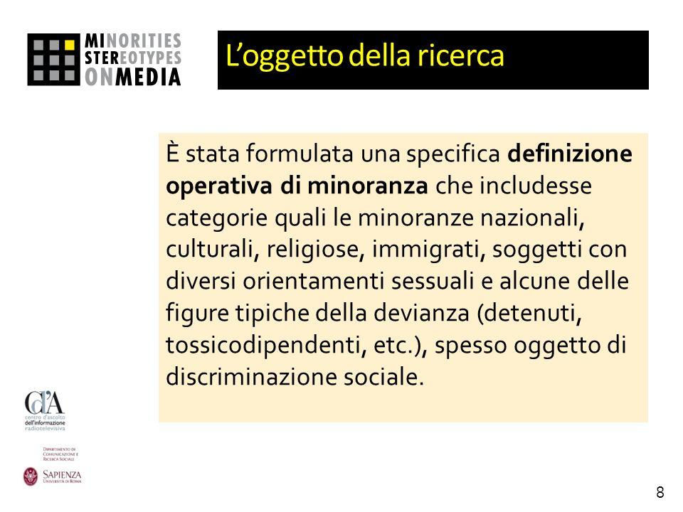 Loggetto della ricerca È stata formulata una specifica definizione operativa di minoranza che includesse categorie quali le minoranze nazionali, cultu
