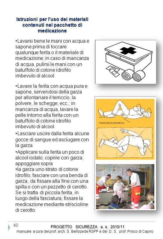 Istruzioni per l'uso dei materiali contenuti nel pacchetto di medicazione Lavarsi bene le mani con acqua e sapone prima di toccare qualunque ferita o