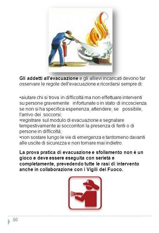 Gli addetti all'evacuazione e gli allievi incaricati devono far osservare le regole dell'evacuazione e ricordarsi sempre di: aiutare chi si trova in d