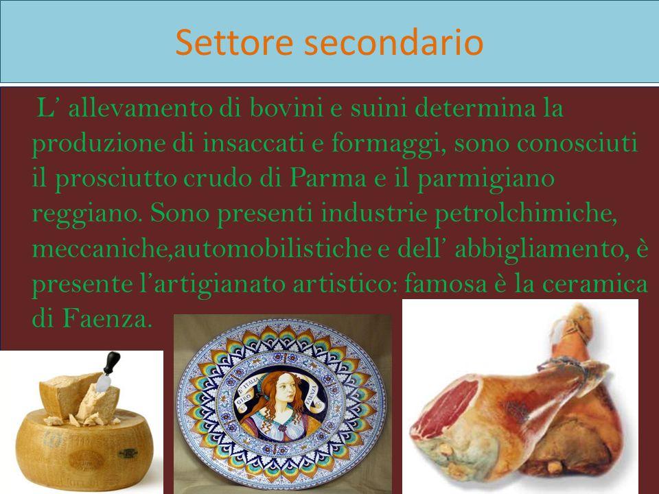 Settore secondario L allevamento di bovini e suini determina la produzione di insaccati e formaggi, sono conosciuti il prosciutto crudo di Parma e il