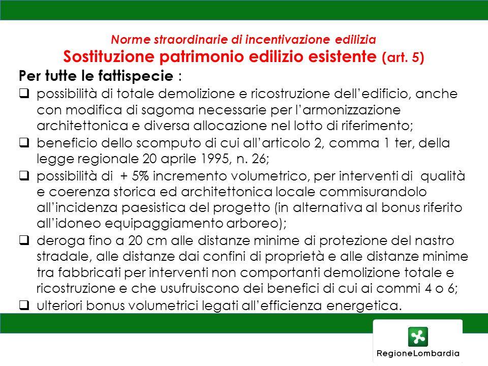 Norme straordinarie di incentivazione edilizia Sostituzione patrimonio edilizio esistente (art. 5) Per tutte le fattispecie : possibilità di totale de