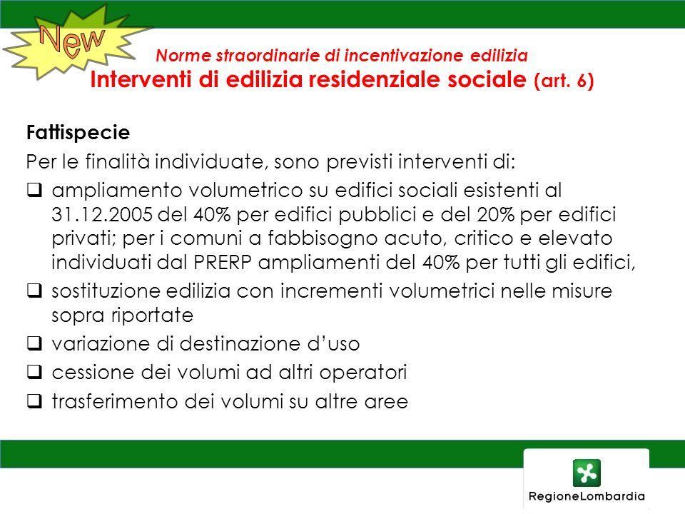 Norme straordinarie di incentivazione edilizia Interventi di edilizia residenziale sociale (art. 6) Fattispecie Per le finalità individuate, sono prev