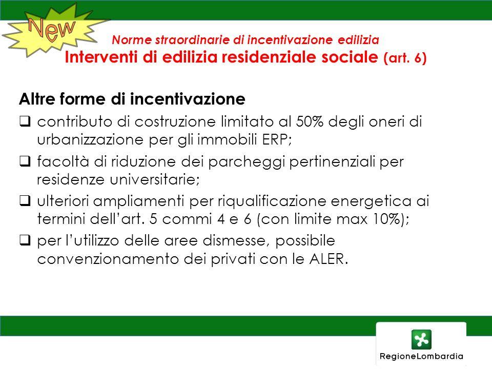 Norme straordinarie di incentivazione edilizia Interventi di edilizia residenziale sociale (art. 6) Altre forme di incentivazione contributo di costru
