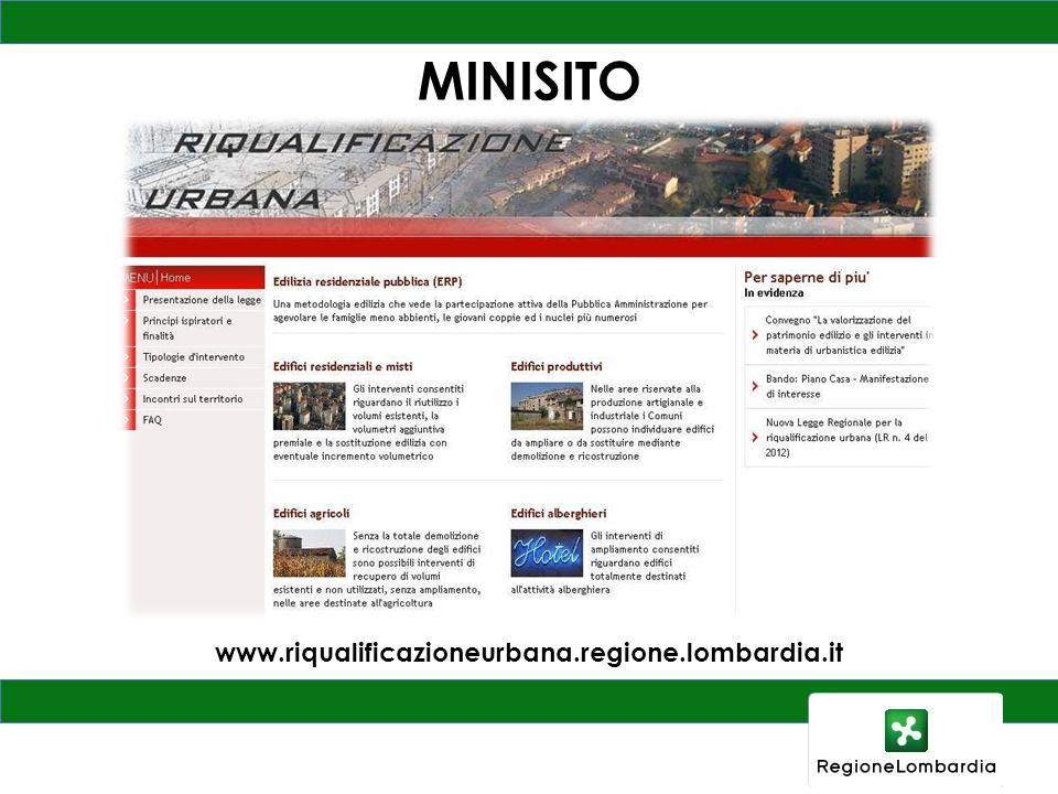 MINISITO www.riqualificazioneurbana.regione.lombardia.it