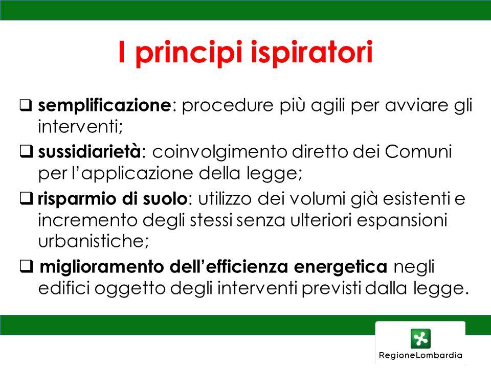 I principi ispiratori semplificazione : procedure più agili per avviare gli interventi; sussidiarietà : coinvolgimento diretto dei Comuni per lapplica