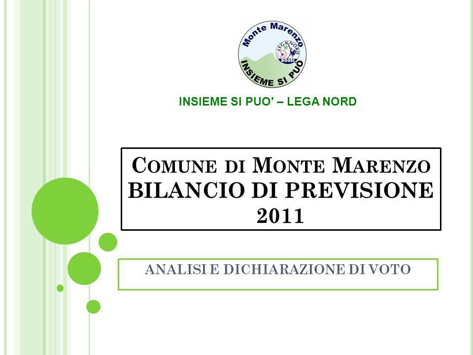 C OMUNE DI M ONTE M ARENZO BILANCIO DI PREVISIONE 2011 ANALISI E DICHIARAZIONE DI VOTO INSIEME SI PUO – LEGA NORD