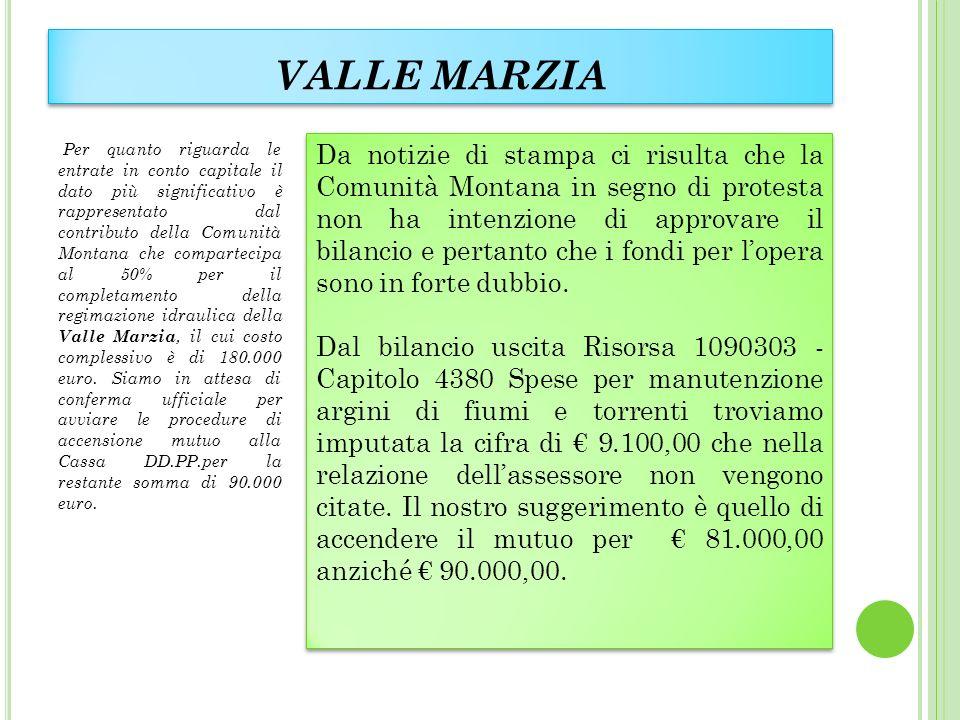 VALLE MARZIA Per quanto riguarda le entrate in conto capitale il dato più significativo è rappresentato dal contributo della Comunità Montana che compartecipa al 50% per il completamento della regimazione idraulica della Valle Marzia, il cui costo complessivo è di 180.000 euro.
