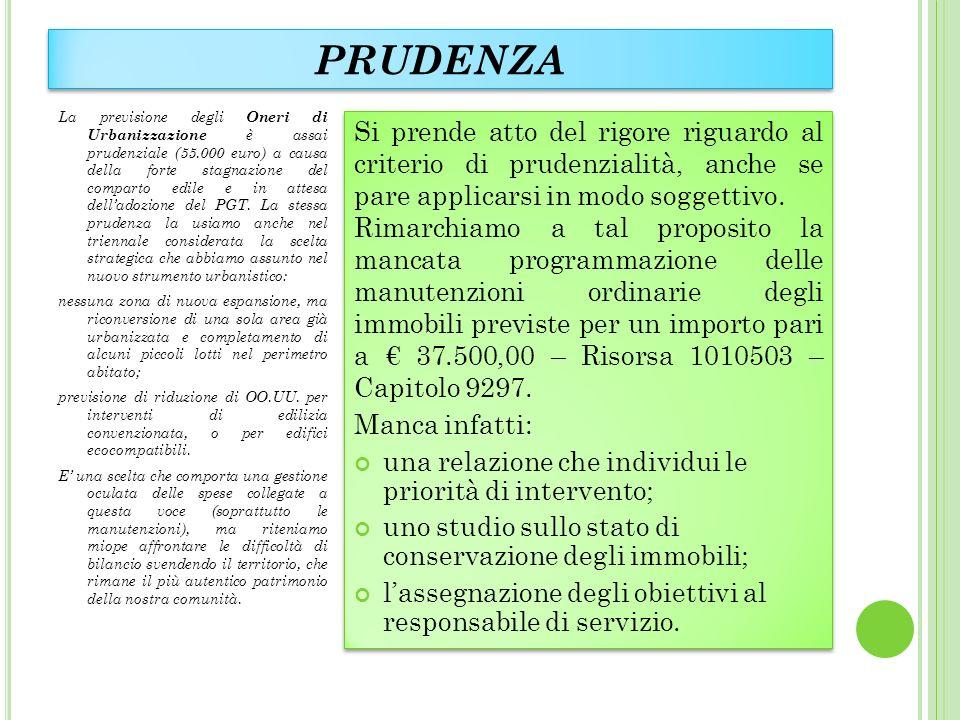 PRUDENZA La previsione degli Oneri di Urbanizzazione è assai prudenziale (55.000 euro) a causa della forte stagnazione del comparto edile e in attesa delladozione del PGT.