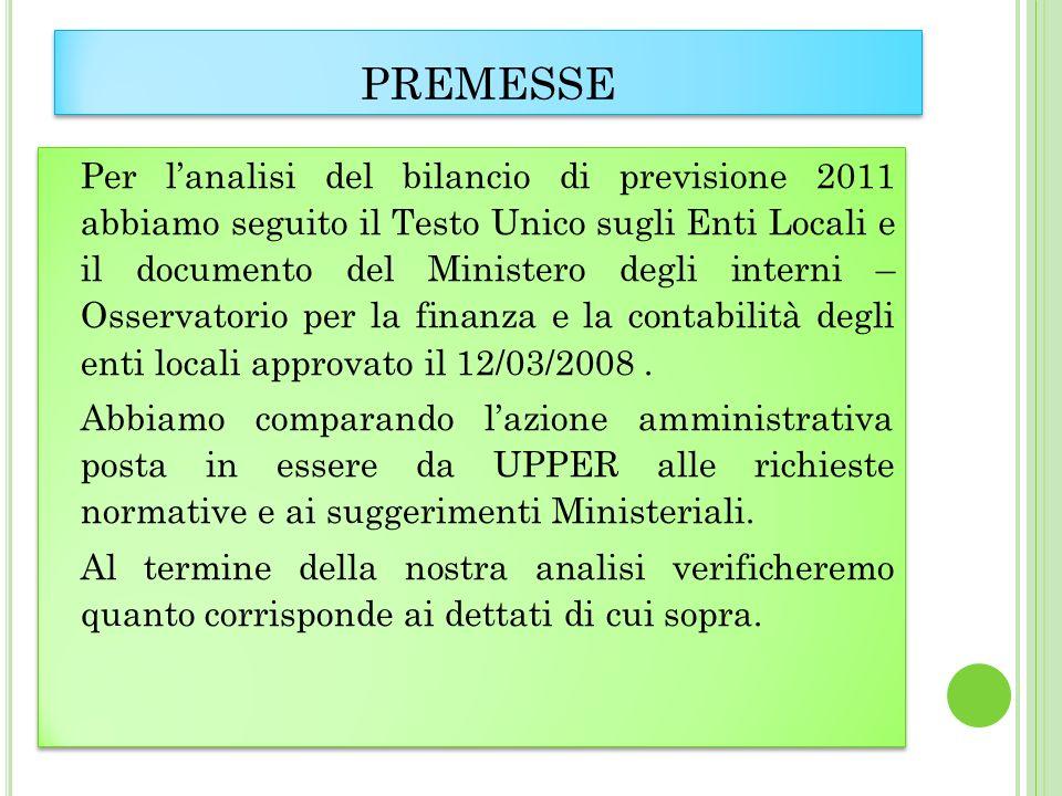 PREMESSE Per lanalisi del bilancio di previsione 2011 abbiamo seguito il Testo Unico sugli Enti Locali e il documento del Ministero degli interni – Osservatorio per la finanza e la contabilità degli enti locali approvato il 12/03/2008.
