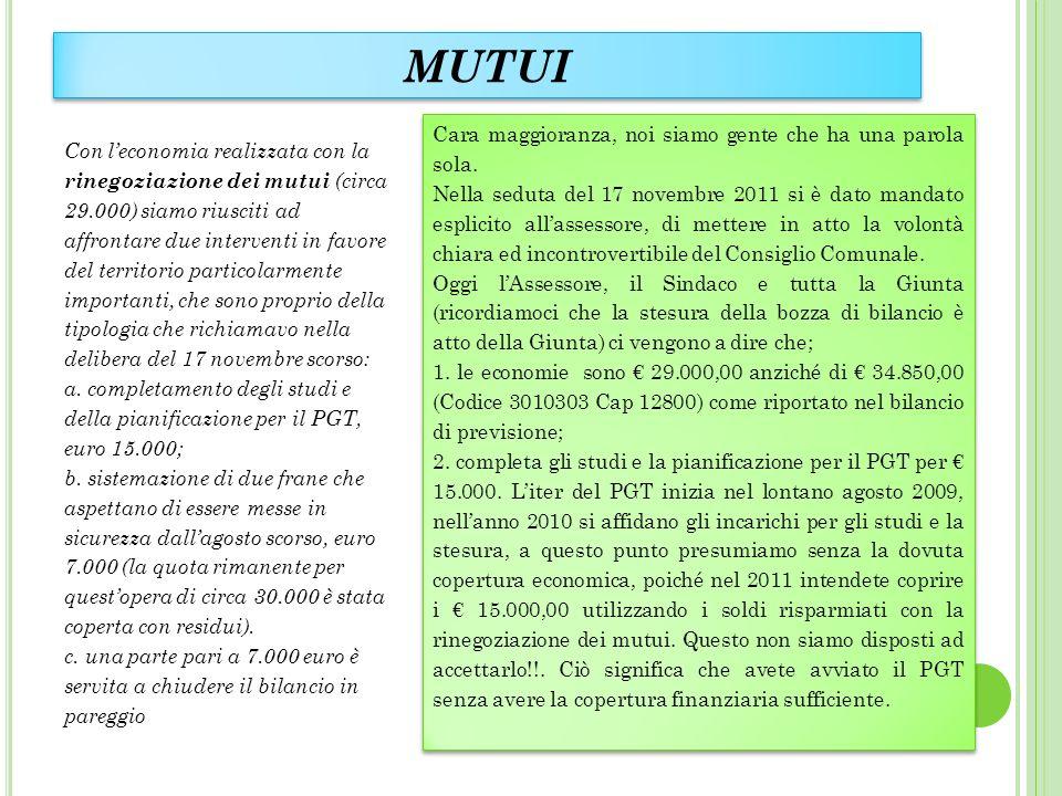 MUTUI Con leconomia realizzata con la rinegoziazione dei mutui (circa 29.000) siamo riusciti ad affrontare due interventi in favore del territorio par