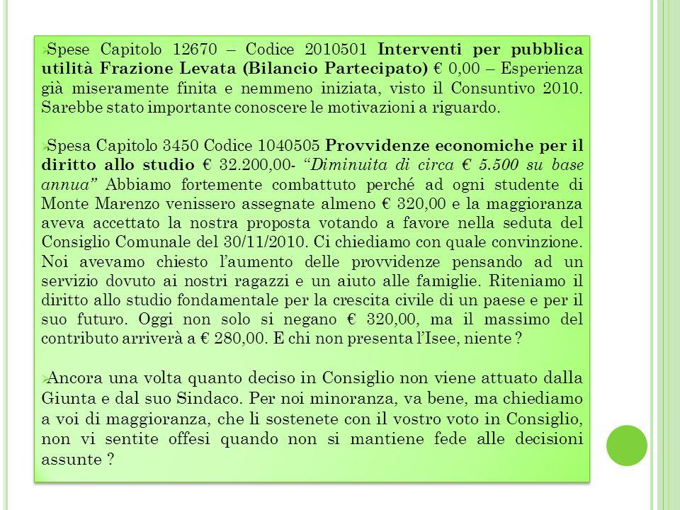 Spese Capitolo 12670 – Codice 2010501 Interventi per pubblica utilità Frazione Levata (Bilancio Partecipato) 0,00 – Esperienza già miseramente finita e nemmeno iniziata, visto il Consuntivo 2010.
