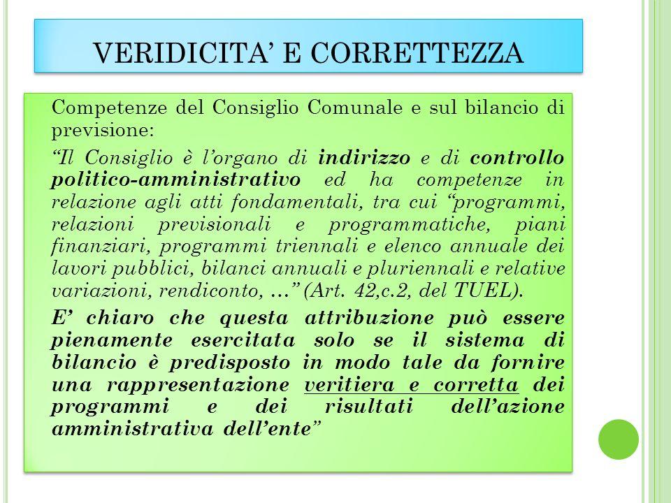VERIDICITA E CORRETTEZZA Competenze del Consiglio Comunale e sul bilancio di previsione: Il Consiglio è lorgano di indirizzo e di controllo politico-a